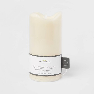 "8"" x 4"" LED Flickering Flame Candle Cream - Threshold™"