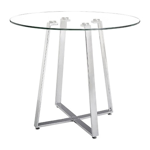 """Modern 40"""" Round Tempered Glass and Chromed Steel Counter Height Table - ZM Home - image 1 of 4"""