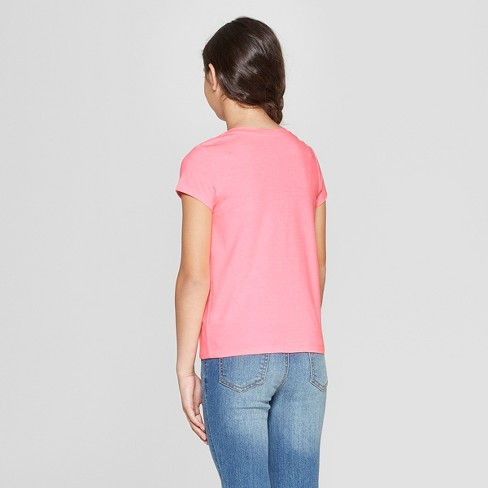 b544c3de Girls' Short Sleeve Tie Front Dog Flip Sequins T-Shirt - Cat & Jack™ Coral  : Target