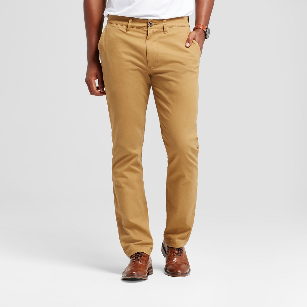 Men's Athletic Fit Hennepin Chino Pants - Goodfellow & Co Light Brown 38X30