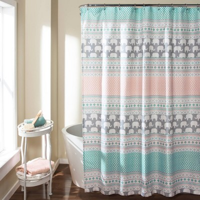 Elephant Striped Shower Curtain Turquoise - Lush Décor