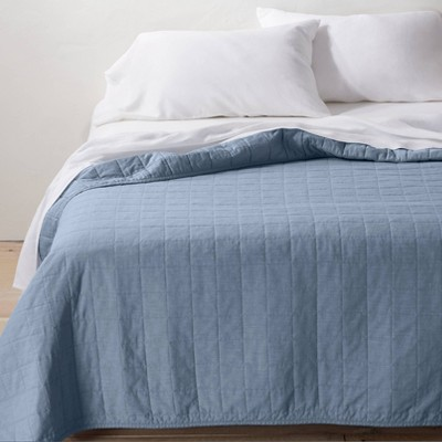 Full/Queen Heavyweight Linen Blend Quilt Sky Blue - Casaluna™