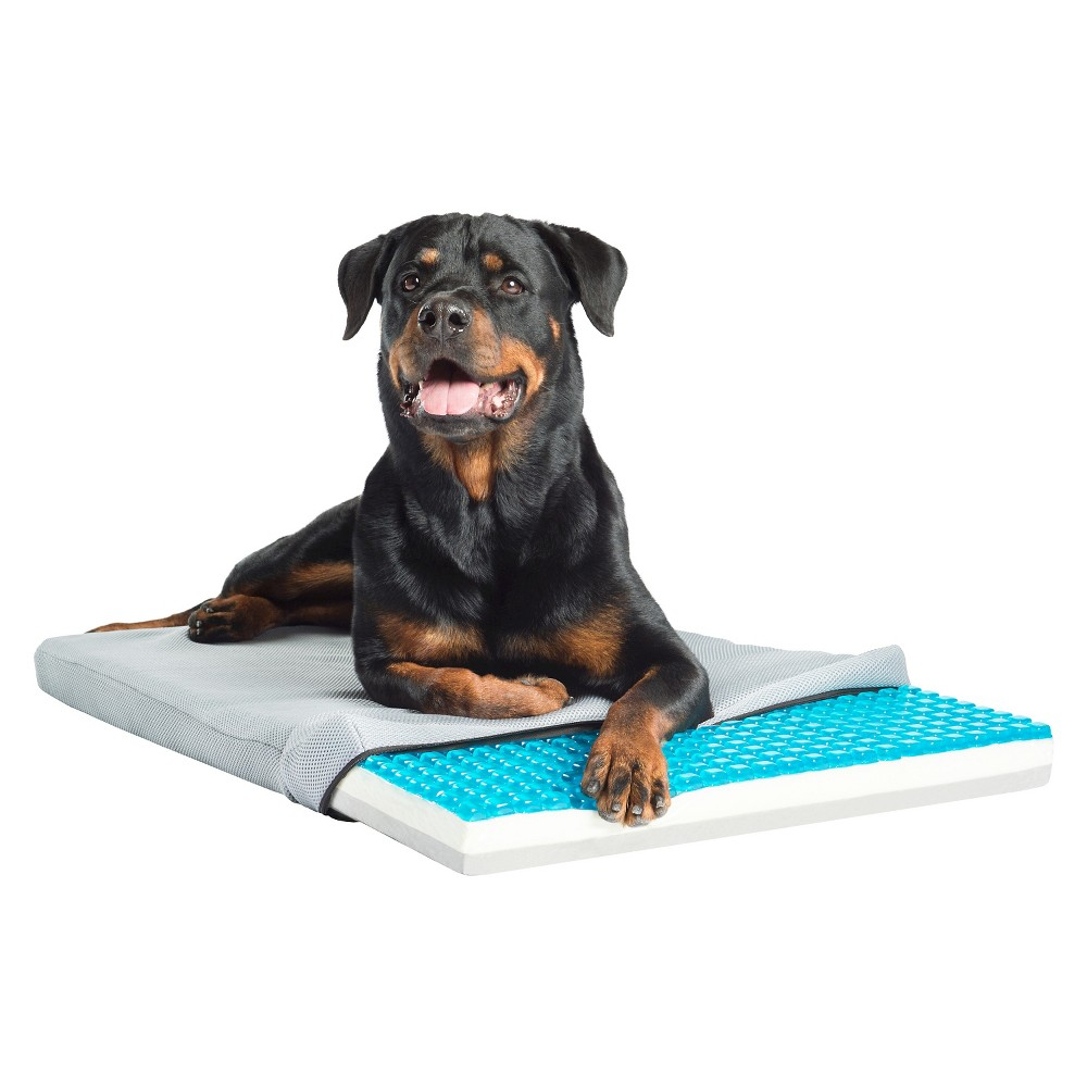 Pet Therapeutics TheraCool Gel Cell Cooling Pad with Tri Core Charcoal-Infused Memory Foam, Blue