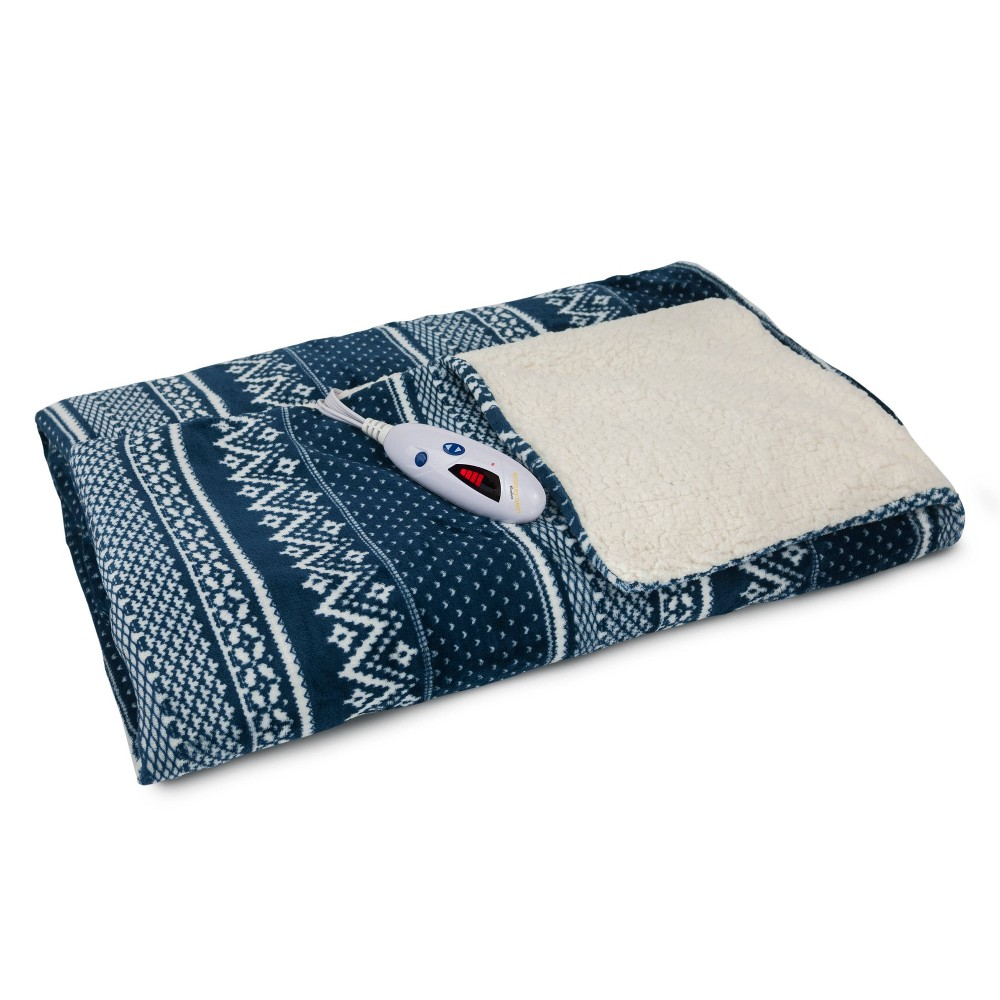 "Image of ""62"""" x 50"""" Velour & Sherpa Electric Throw Blanket Navy Fair Isle - Biddeford Blankets"""