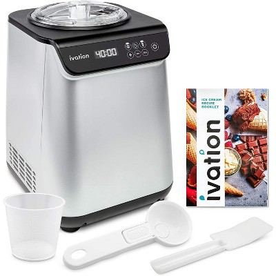 Ivation Compressor Ice Cream Maker Machine, Automatic Instant Cool Gelato Maker, No Pre-freezing Necessary, Stainless Steel, LCD Screen, Digital Timer, Removable Bowl Clear Lid, Recipe Book