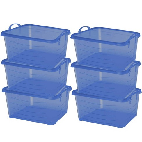 Life Story Blue 55 Quart Stackable Closet Storage Box Containers Totes (6 Pack) - image 1 of 4