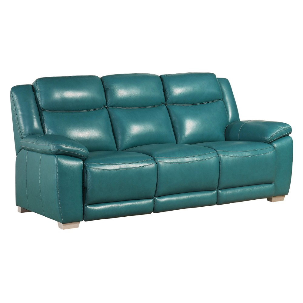 Lyra Top Grain Leather Reclining Sofa - Turquoise - Abbyson