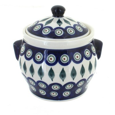 Blue Rose Polish Pottery Peacock Small Canister