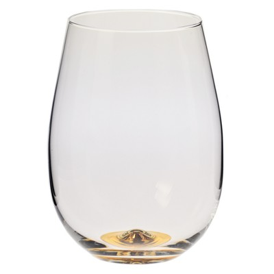 Krosno 17oz Stemless Wine Glass With Gold Accent
