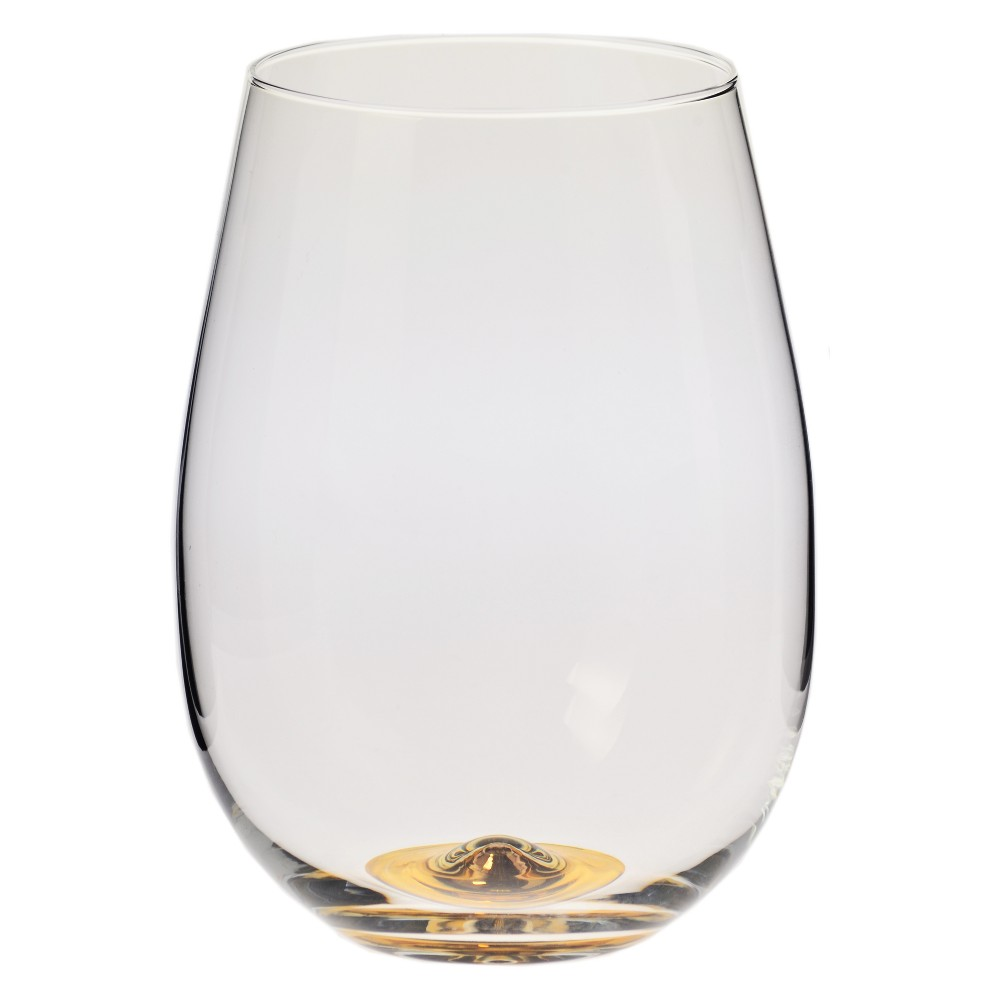 Image of Krosno 17oz Stemless Wine Glass With Gold Accent, Clear