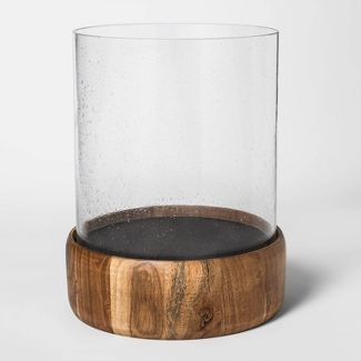 """13"""" x 10.7"""" Wood and Glass Hurricane Pillar Candle Holder Copper - Smith & Hawken™"""