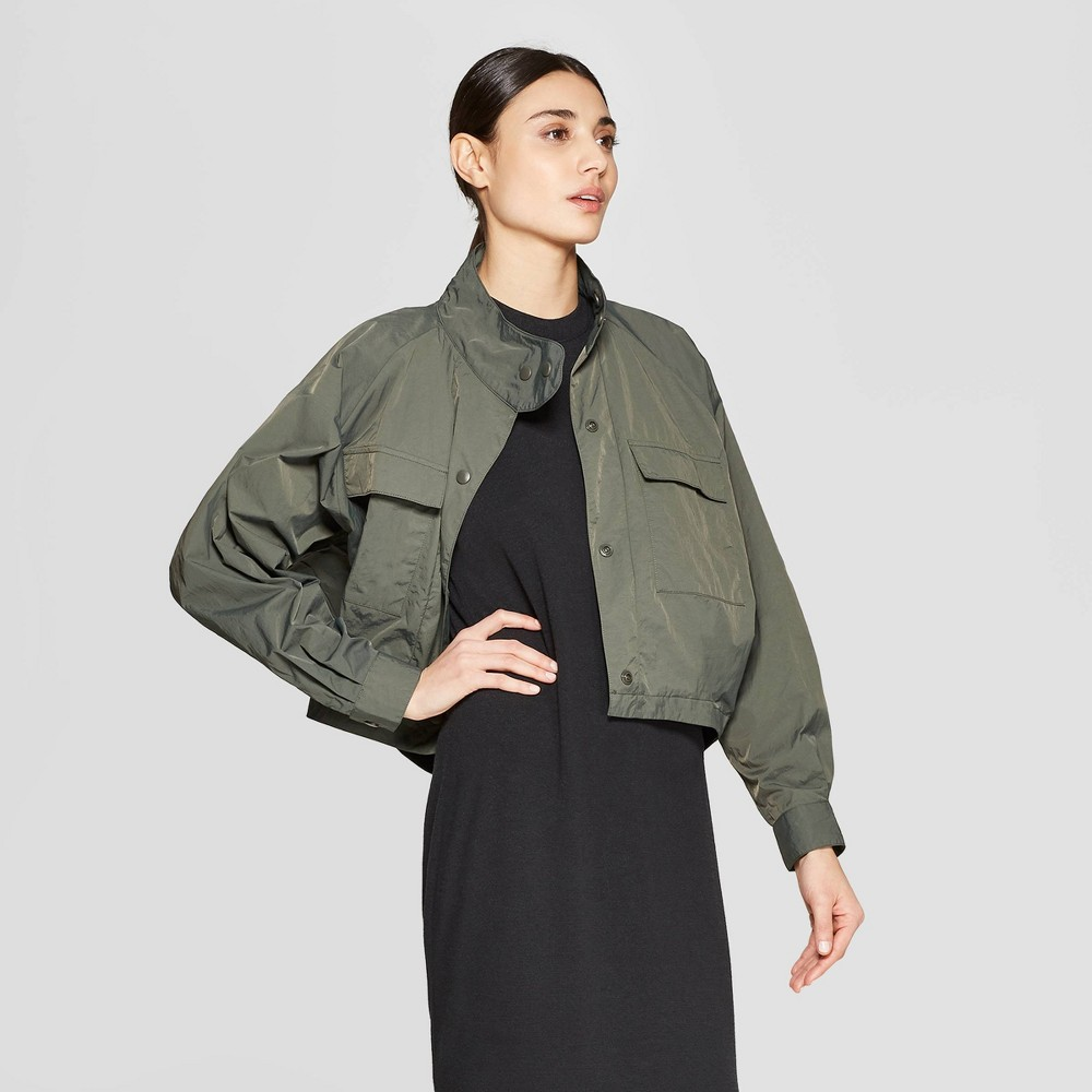 65ab7bfff Womens Long Sleeve Oversize Crop Bomber Jacket Prologue Olive S Green