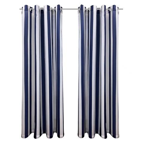 Set of 2 Bimini Striped Grommet Top Curtain Panels - Outdoor Décor - image 1 of 4