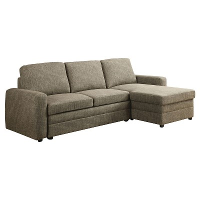 3pc Derwyn Sectional Sofa Light Brown Linen   Acme Furniture