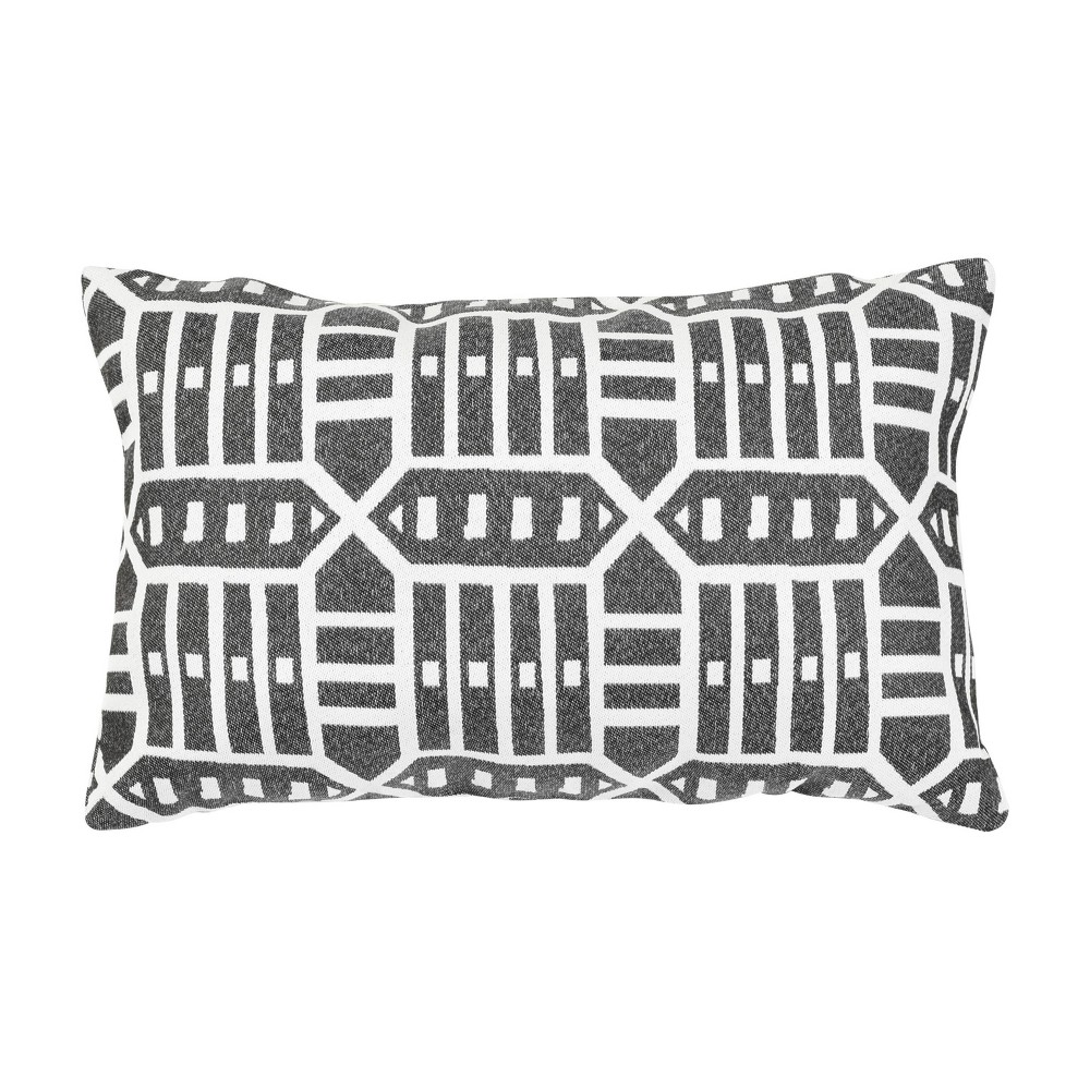 "Image of ""Pacifica Lumbar Throw Pillow Roland Charcoal - Astella, Size: 12""""x18"""", Roland Grey"""