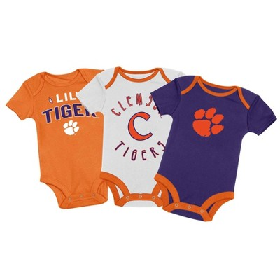 NCAA Clemson Tigers Baby Boys' 3pk Bodysuit Set - 0-3M