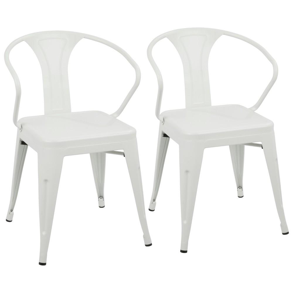 Set of 2 Waco Industrial Dining Chair Vintage Cream (Ivory) - LumiSource