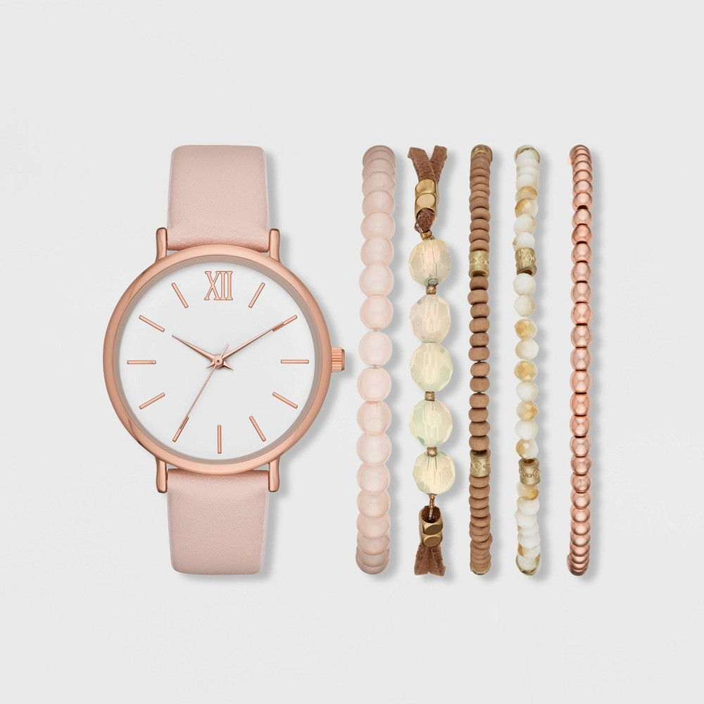 Image of Women's Roman Strap Watch Set - A New Day Rose Gold/Blush, Size: Small, Pink