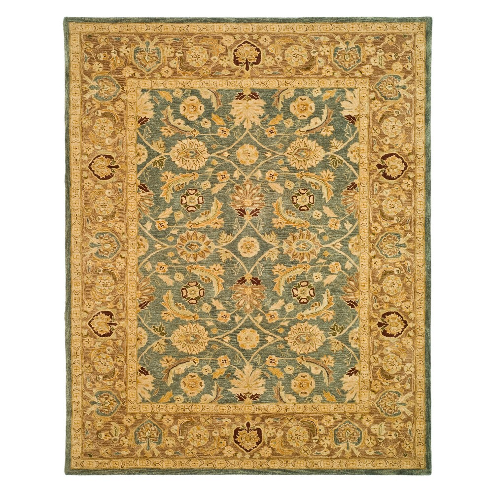 9'X12' Leaf Area Rug Teal Blue/Taupe (Teal Blue/Brown) - Safavieh