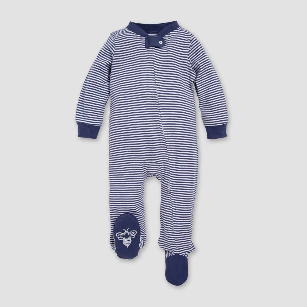 Burt's Bees Baby Boys' Organic Cotton Classic Stripe Sleep N' Play - Indigo 0-3M, Blue