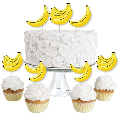 Big Dot of Happiness Let's Go Bananas - Dessert Cupcake Toppers - Tropical Party Clear Treat Picks - Set of 24