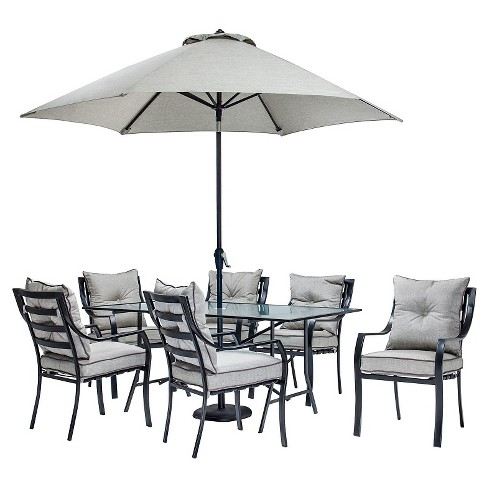 Hanover Lavallette 8pc Outdoor Dining Set With Table Umbrella And Base Target
