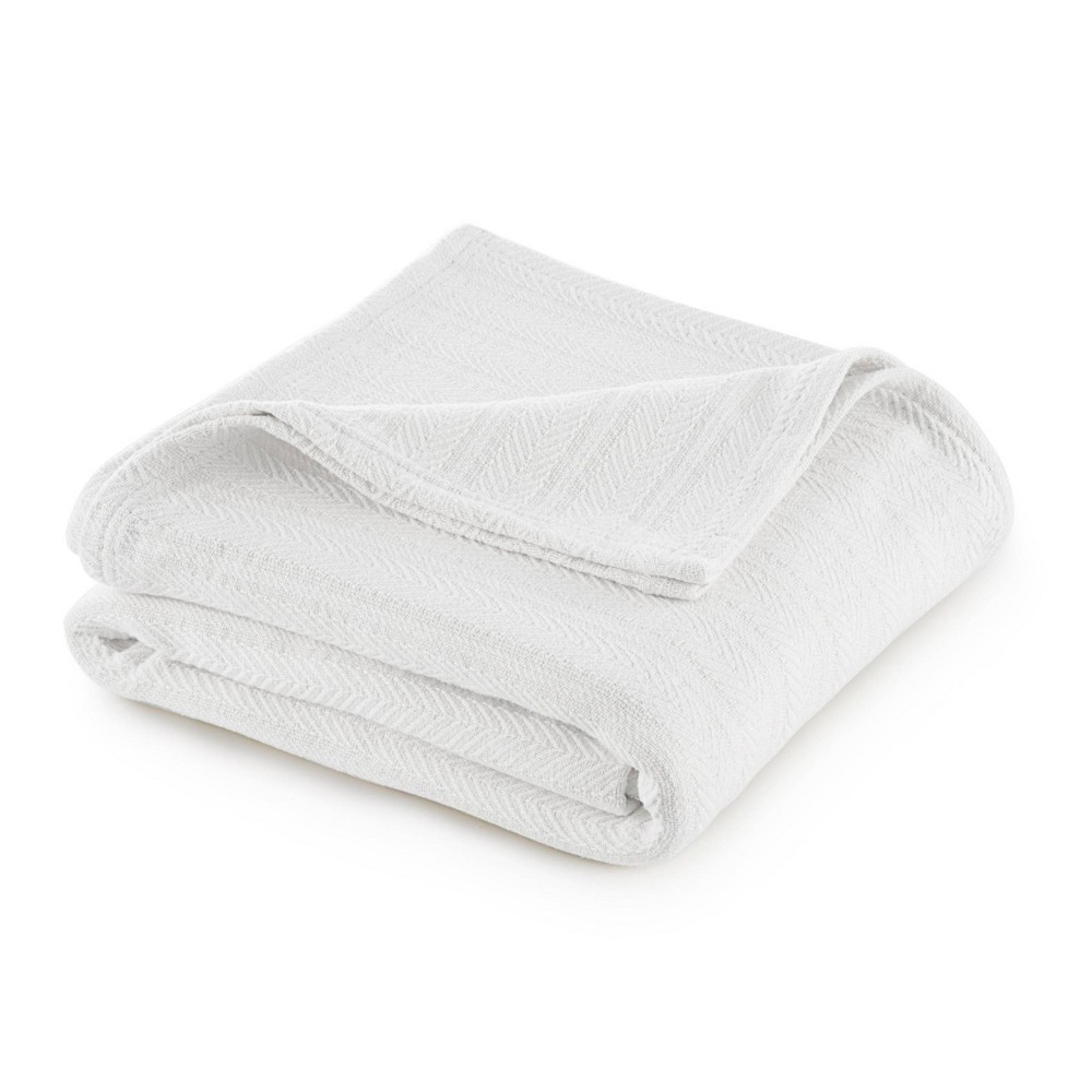 King Cotton Bed Blanket White Vellux