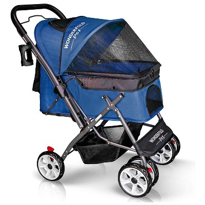 WONDERFOLD P1 Midnight Blue Folding Push Pet Stroller Wagon for Dogs and Cats, Storage Baskets with Zipperless Entry, Midnight Blue