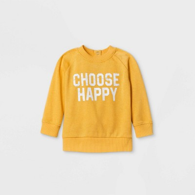 Grayson Mini Baby Girls' 'Choose Happy' Sweatshirt - Yellow 3-6M