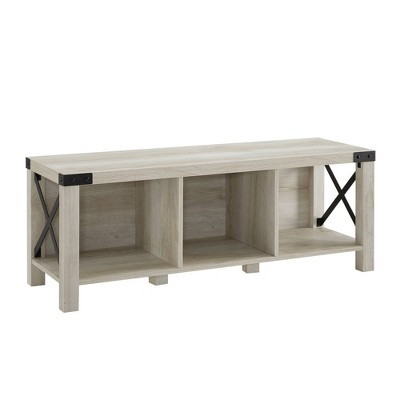 Farmhouse Wood & Metal Entry Bench White Oak - Saracina Home