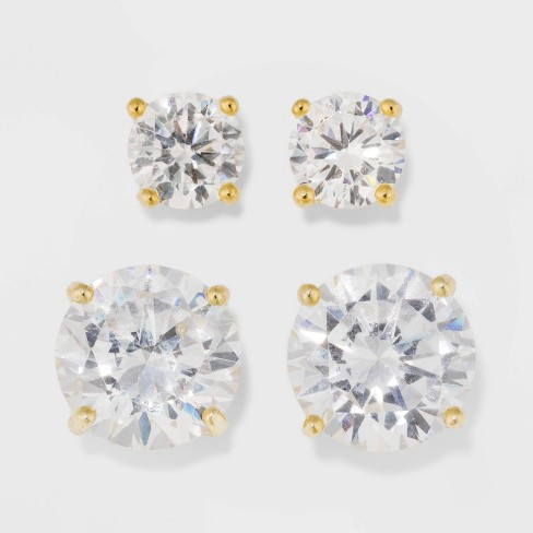 Gold Over Sterling Silver Round Cubic Zirconia Stud Fine Jewelry Earring Set 2pc - A New Day™ Gold/Clear - image 1 of 3