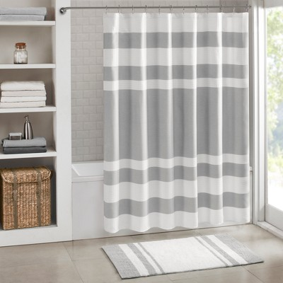 Spa Waffle Shower Curtain with 3M Treatment Gray