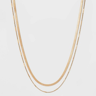 Curb and Snake Chain Layered Multi-Strand Necklace - Universal Thread™ Worn Gold