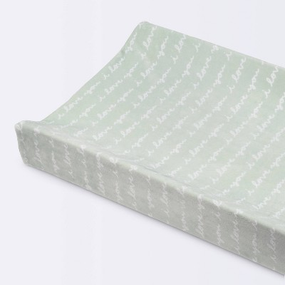 Plush Changing Pad Cover I Love You Script - Cloud Island™ Mint
