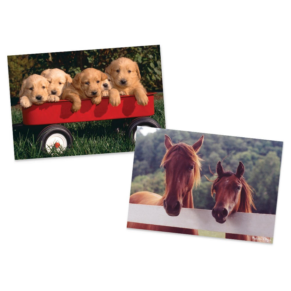 Melissa & Doug Animals Jigsaw Puzzles Set - Puppy Dog Wagon and Horse Corral 200pc