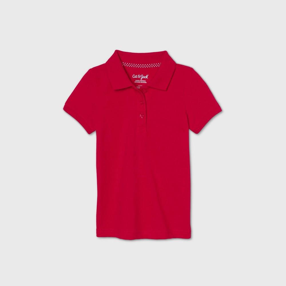 Toddler Girls 39 Short Sleeve Stretch Pique Uniform Polo Shirt Cat 38 Jack 8482 Red 5t
