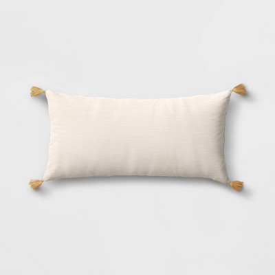 Oversized Velvet Lumbar Throw Pillow with Tassels Cream - Threshold™