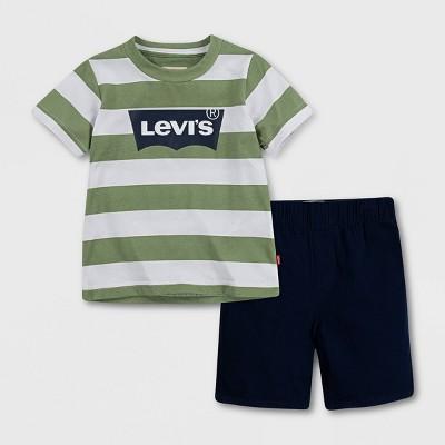 Levi's® Baby Boys' Graphic Short Sleeve Top & Bottom Set - White/Gray 3M