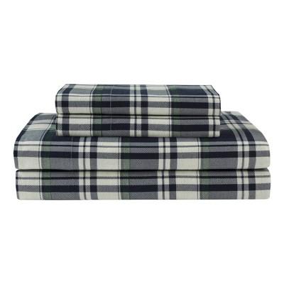 Winter Nights Cotton Flannel Sheet Set (Queen)Plaid Navy - Elite Home