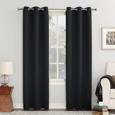"84""x40"" Kenneth Blackout Energy Efficient Grommet Curtain Panel Black - Sun Zero"