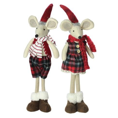 Northlight Set Of 2 Plush Red Plaid Standing Christmas Mice