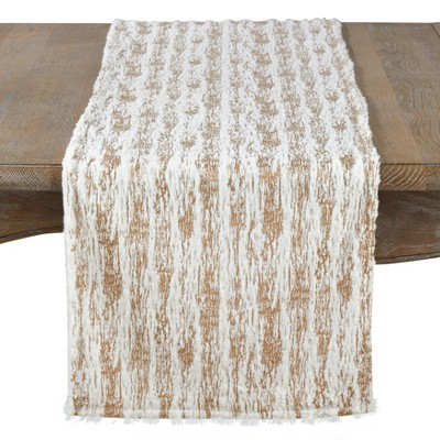 Saro Lifestyle Metallic Foil Print With Accented Faux Fur Runner
