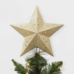 Lit Star Christmas Tree Topper Gold - Wondershop™