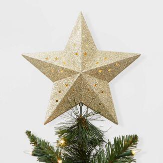 Lit Star Christmas Tree Topper Gold - Wondershop™