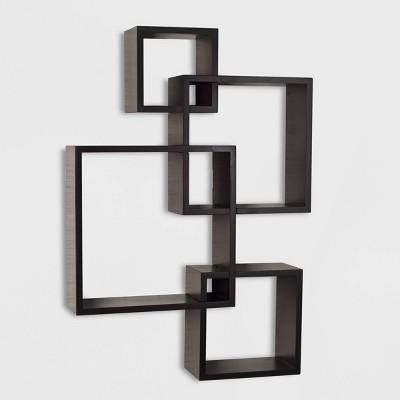 "25.5"" x 17.75"" Intersecting Cube Wall Shelf Espresso - Danya B."