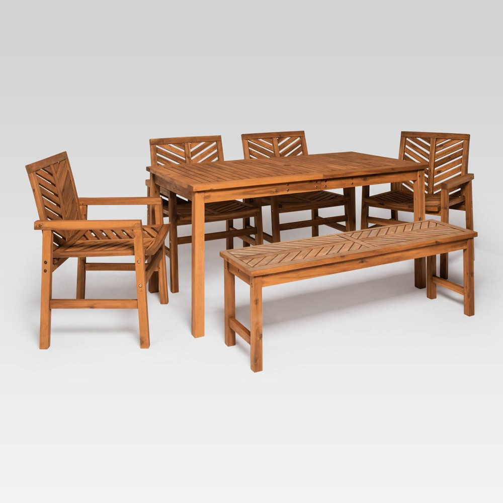 Peachy 6Pc Chevron Outdoor Patio Dining Set Brown Saracina Home Pabps2019 Chair Design Images Pabps2019Com
