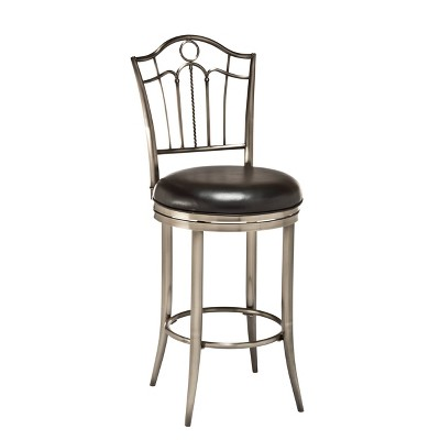"""24"""" Portland Swivel Counter Height Barstool Metal/Pewter - Hillsdale Furniture"""