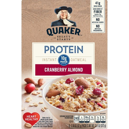 Quaker Protein Cranberry Almond Instant Oatmeal - 6ct - image 1 of 4