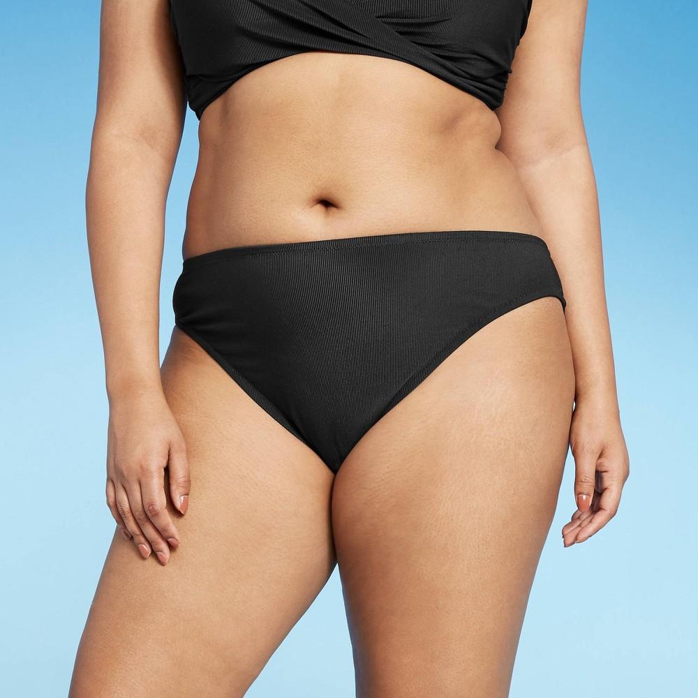 Women 39 S Ribbed Cheeky Bikini Bottom Shade 38 Shore 8482 Black M
