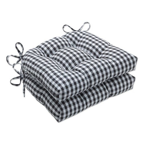"""2pc 17.5"""" x 16.5"""" Outdoor/Indoor Large Chair Pad Set Dawson Pewter Black - Pillow Perfect - image 1 of 1"""